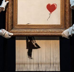Banksy admite que la autodestrucción de su obra no salió según lo planeado