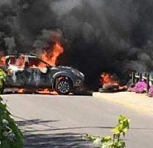 Delincuentes roban banco en Puchuncaví y bloquean accesos quemando autos