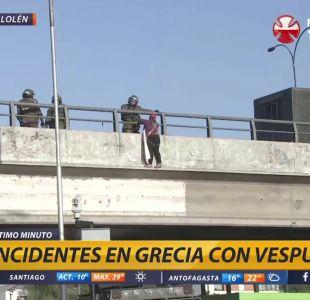 Incidentes entre manifestantes y carabineros en Rotonda Grecia