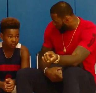 [VIDEO] El rudo LeBron James entregó una emotiva arenga a su hijo basquetbolista