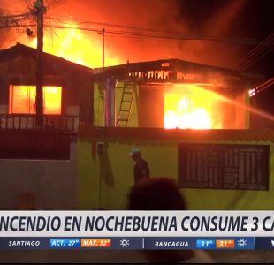 [VIDEO] Incendio en Nochebuena consume tres casas en Iquique