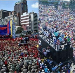 manifestacion oficialista y opositora en Venezuela