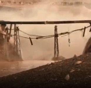 [VIDEO] Puente ferroviario sufre graves daños producto de lluvias en la zona norte