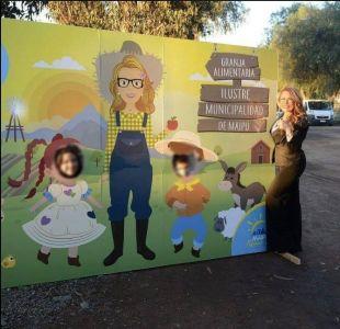 Polémica por imagen de Cathy Barriga en gigantografía de nueva granja municipal de Maipú