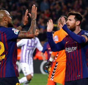 Arturo Vidal jugó todo el partido en ajustada victoria del Barcelona sobre el Valladolid