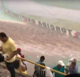 Temporal en Brasil transformó a estadio en una verdadera cascada