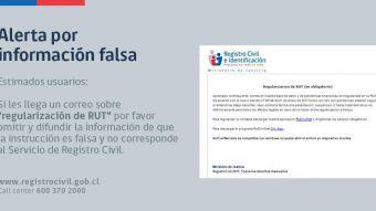"Registro Civil alerta sobre falso correo sobre ""regularización de RUT"""