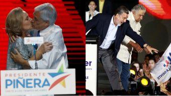 Los cierres de campaña de Piñera y Guillier en fotos