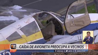 [VIDEO] Accidente en Peñalolén: caída de avioneta preocupa a vecinos