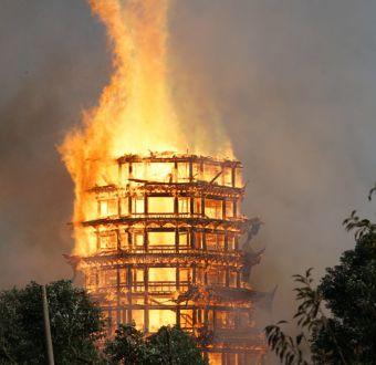 Una de las pagodas de madera más altas del mundo fue totalmente destruida por un incendio