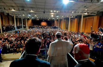 [FOTOS] El Papa es recibido en la Universidad Católica