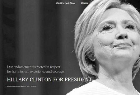 El New York Times otorga su apoyo a Hillary Clinton