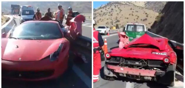 Conductor choca su lujoso Ferrari y lo deja abandonado en Chicureo